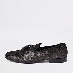Schwarze Loafer mit Quaste
