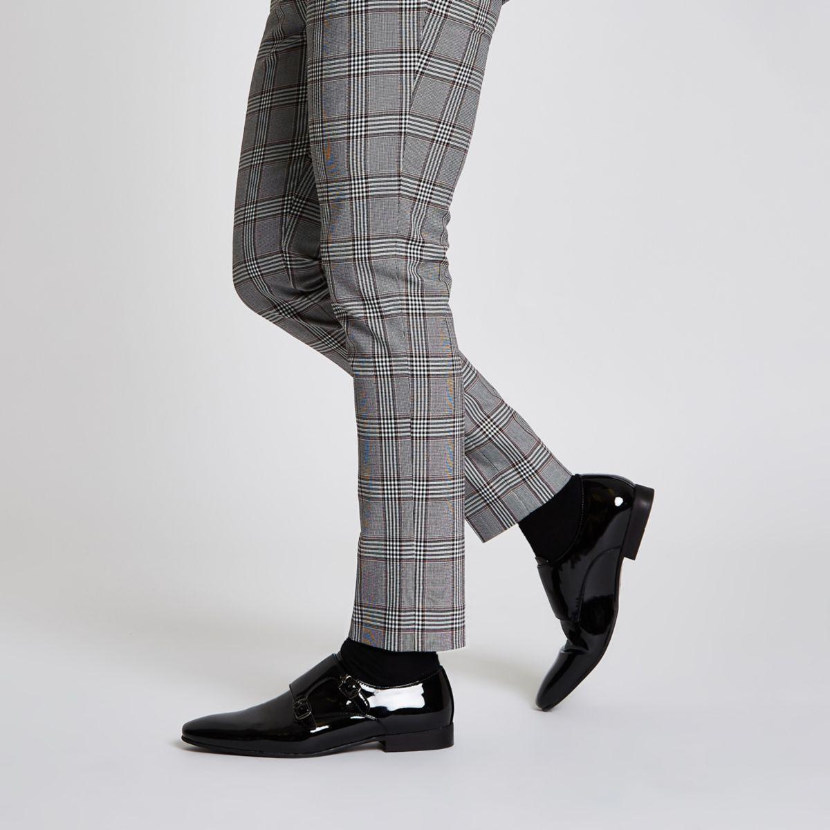 Black patent monk strap shoes