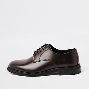Burgundy high shine leather derby shoes