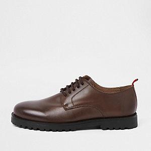 Chaussures Derby en cuir marron à lacets