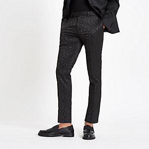 Pantalon skinny habillé en jacquard stretch noir