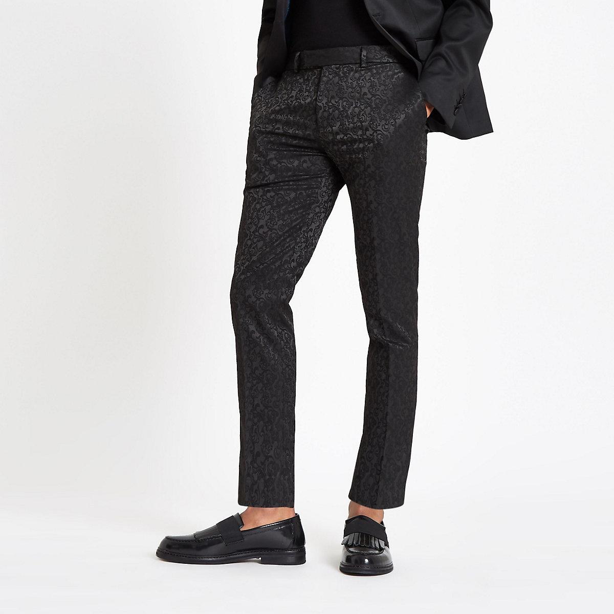 Black jacquard stretch skinny smart pants
