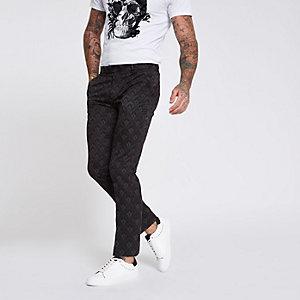 Burgundy tile print skinny smart trousers