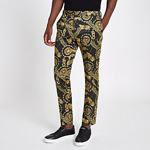 Pantalon habillé skinny imprimé léopard noir