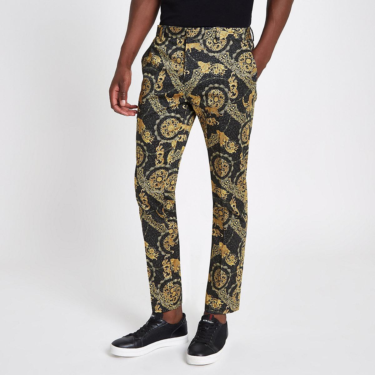 Black leopard printed skinny smart trousers