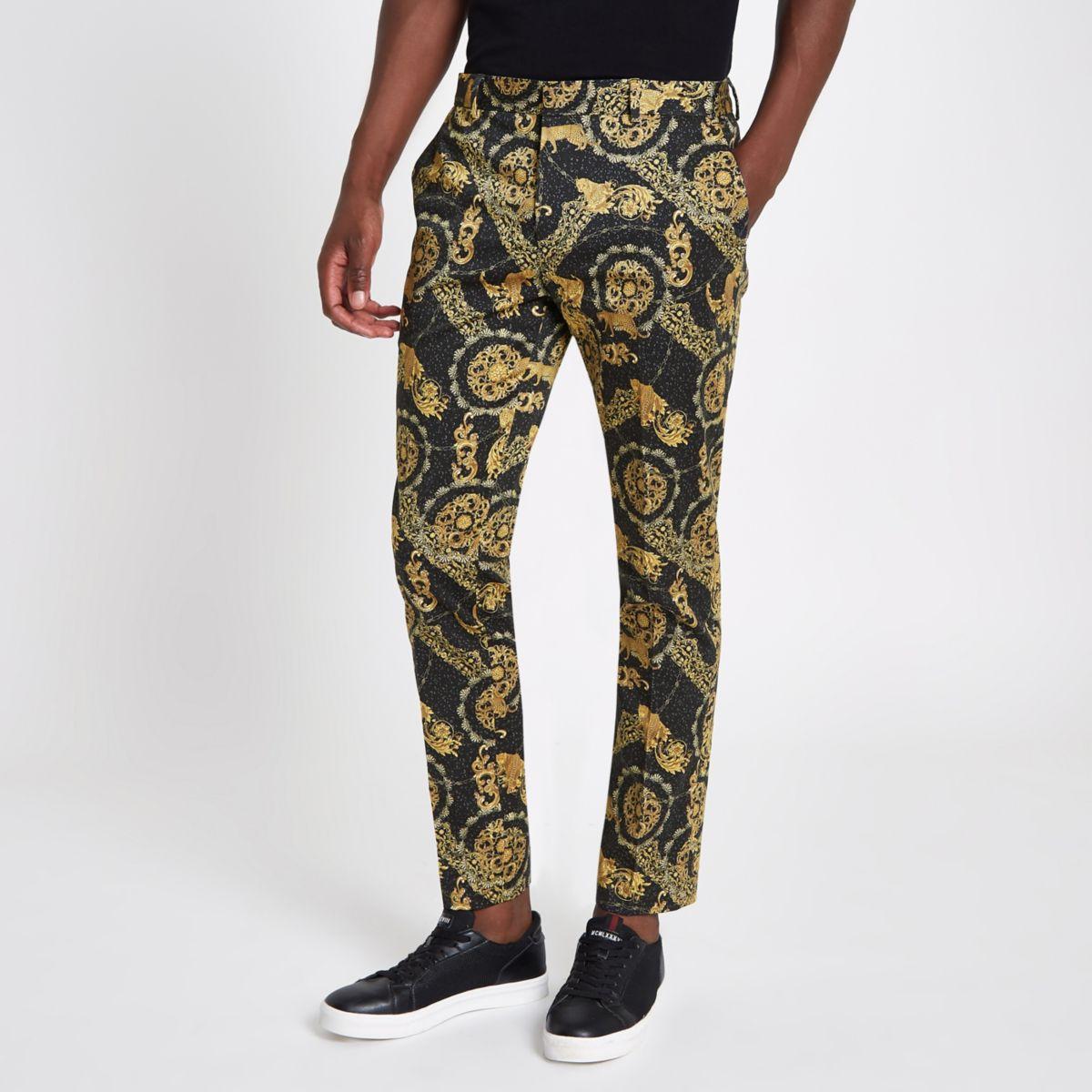 Black leopard printed skinny smart pants