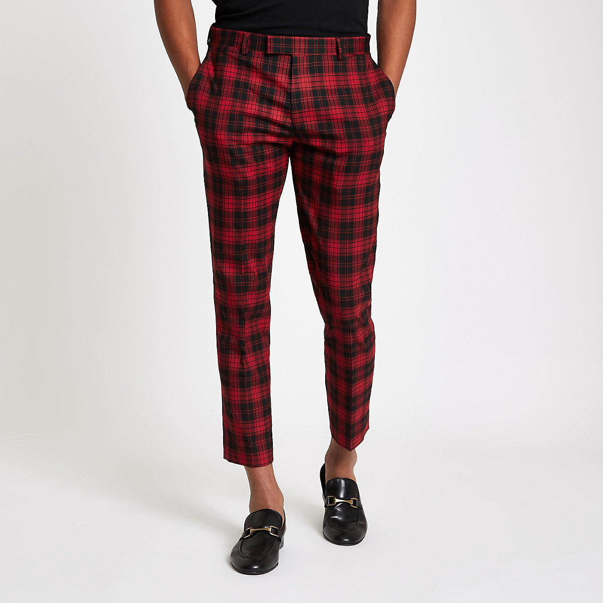 Black tartan check smart skinny crop trousers