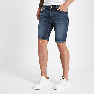 Mid blue skinny fit denim shorts