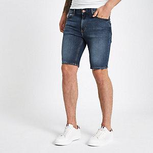 Mid blue skinny fit denim shorts