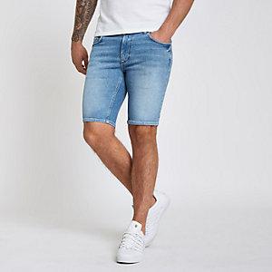 Hellblaue Skinny Fit Jeansshorts