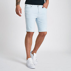 Light blue skinny ripped denim shorts