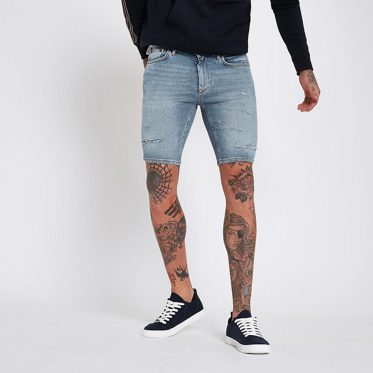 Mid blue skinny denim ripped shorts