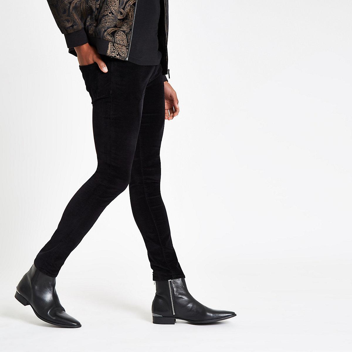 Black Danny super skinny velvet pants