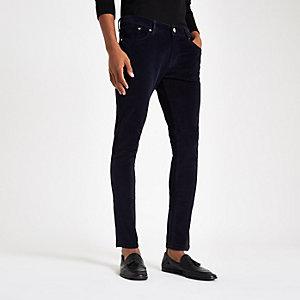 Navy Danny velvet super skinny pants
