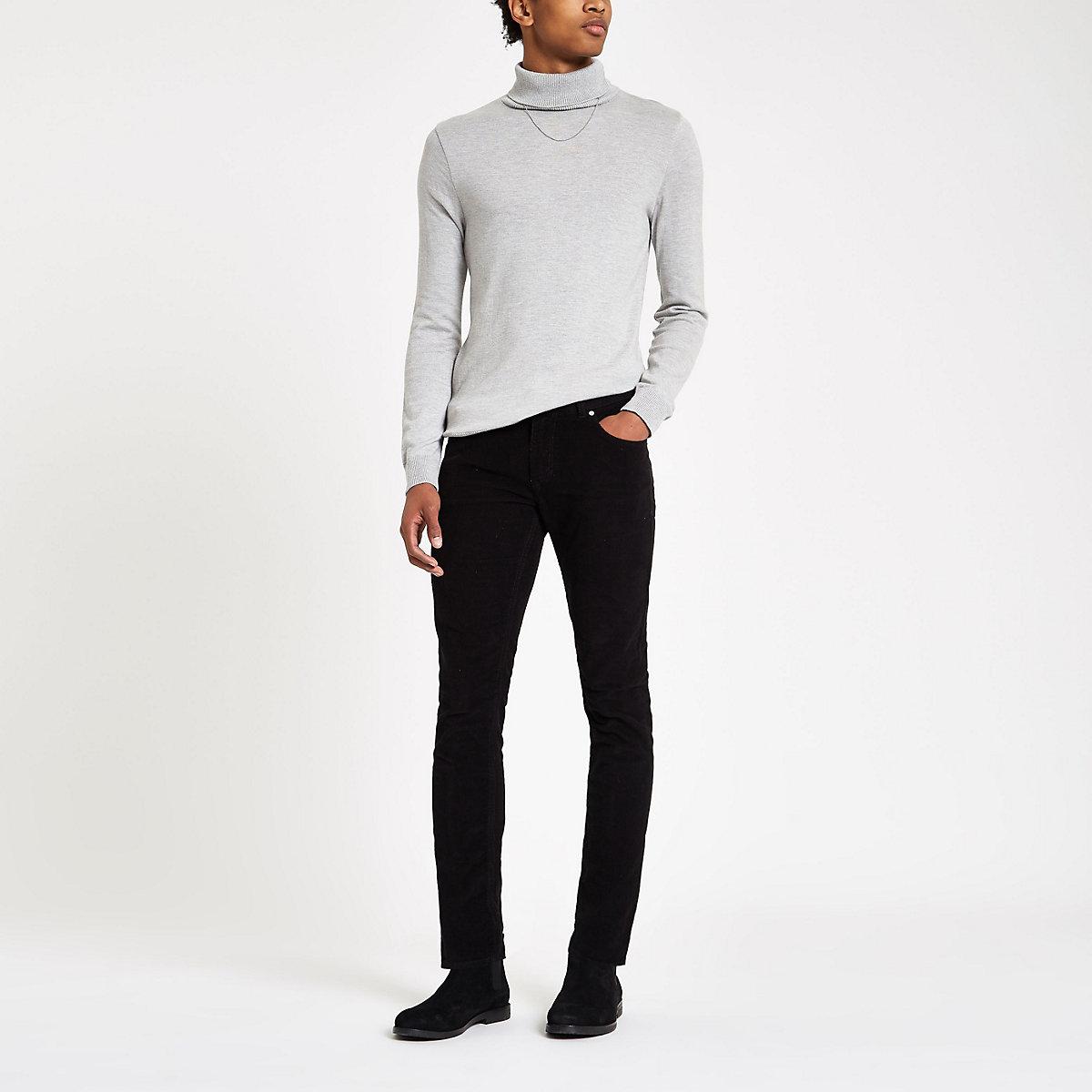 Black Sid cord skinny stretch pants