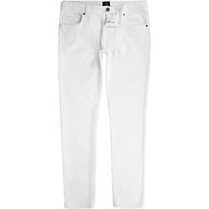 White Sid cord skinny stretch trousers