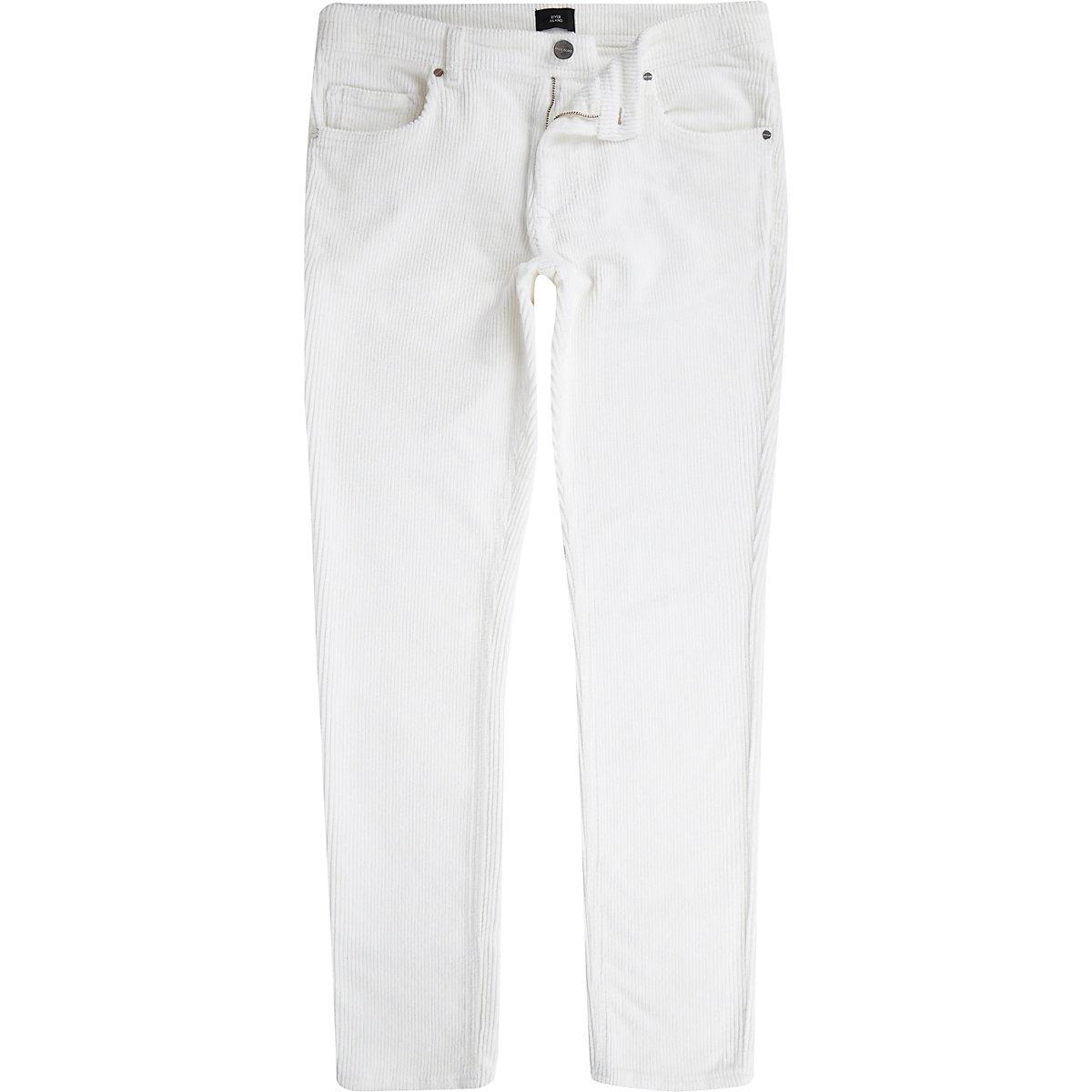 White Sid cord skinny stretch pants