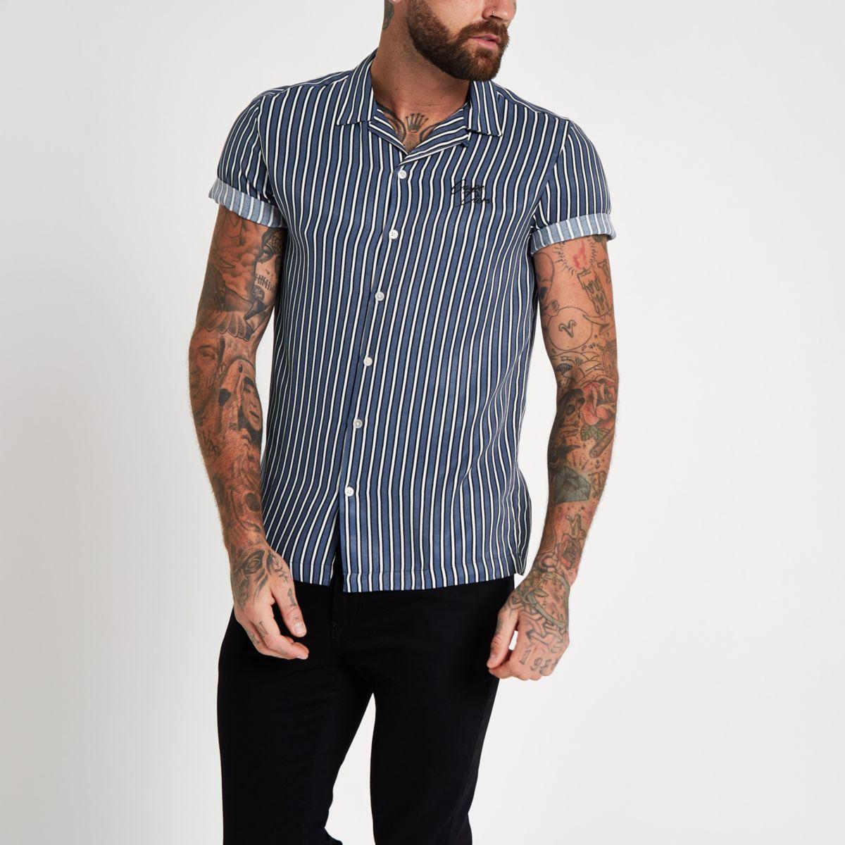 Blue stripe 'carpe diem' embroidered shirt