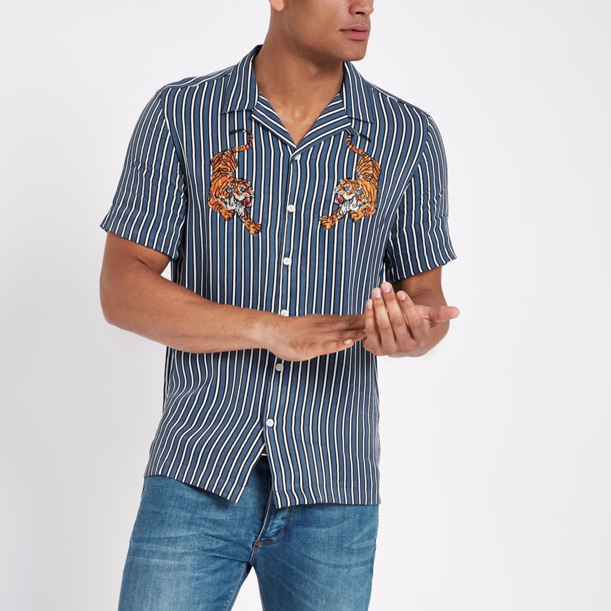 Blue stripe tiger embroidered shirt