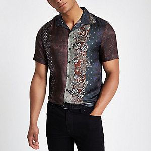 Bruin overhemd met revers en print