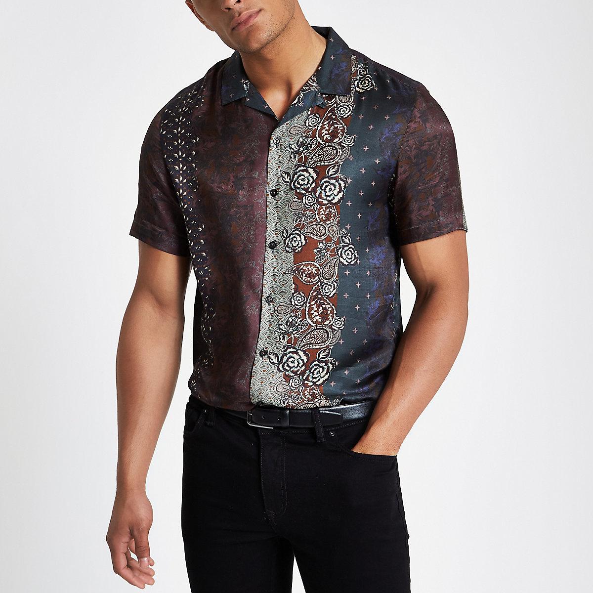 Brown printed revere shirt