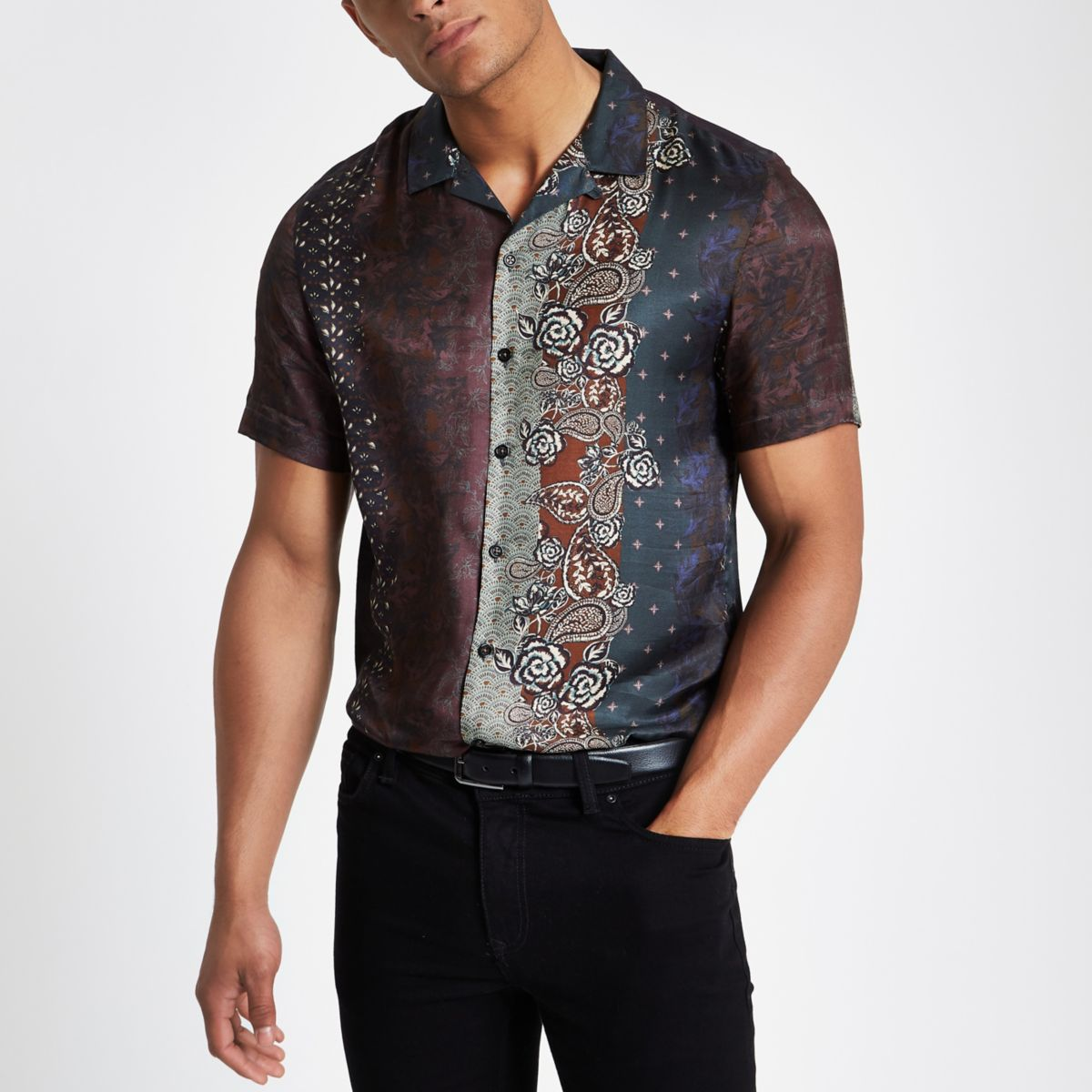 Brown printed revere shirt