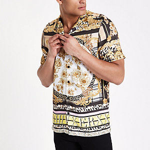 Geel overhemd met reverskraagje, barokprint en korte mouwen