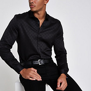 RI 30 black jacquard button-down shirt