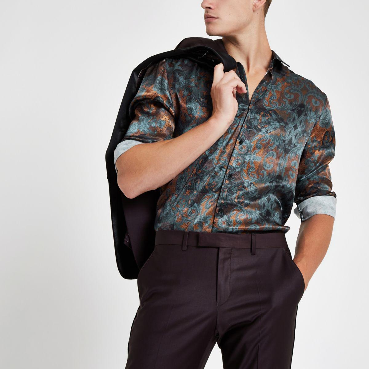 RI 30 brown printed revere shirt