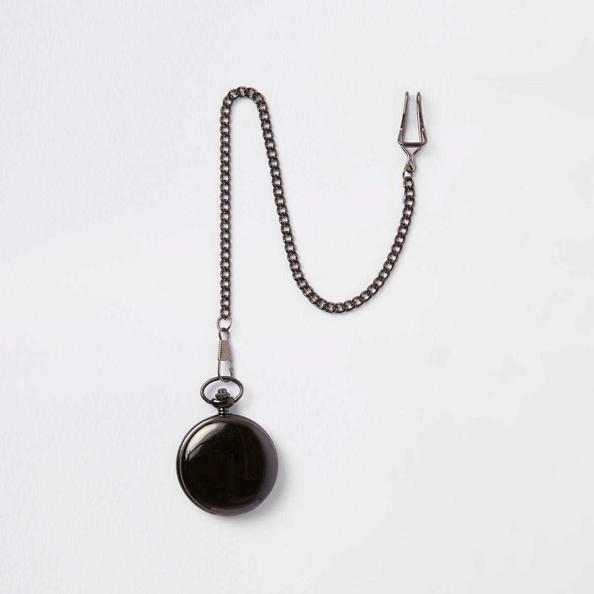 Dark grey gunmetal pocket watch
