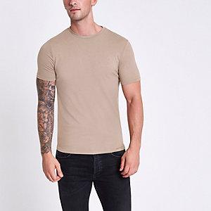 Bruin gemêleerd aansluitend T-shirt met ronde hals