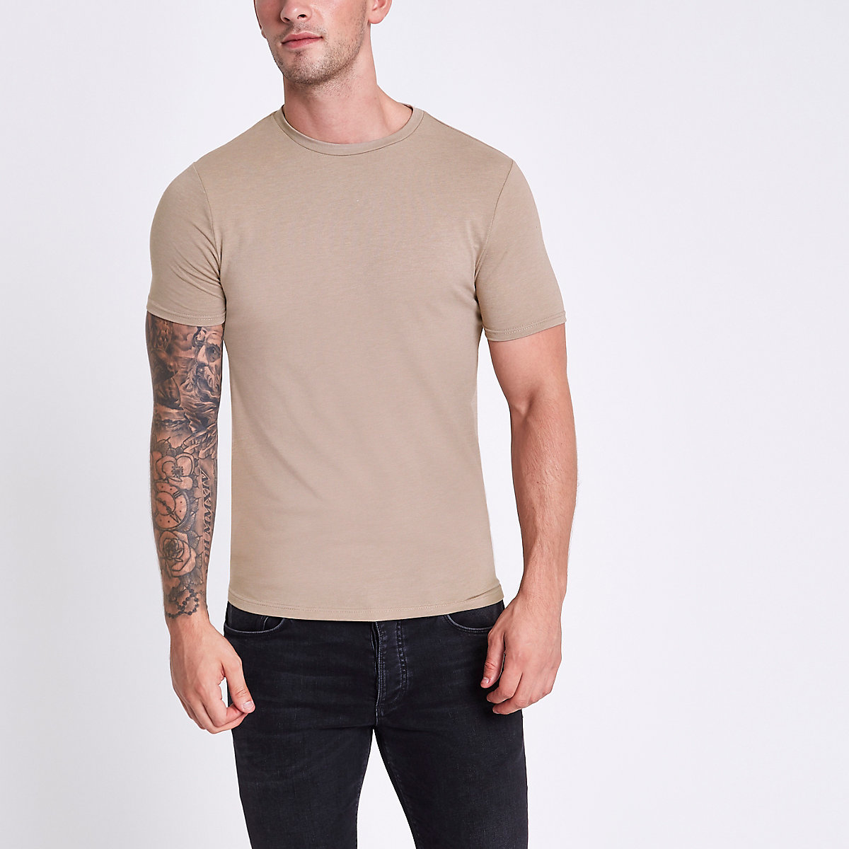 Brown marl muscle fit crew neck T-shirt
