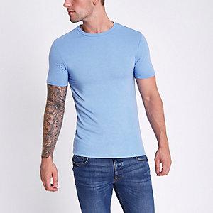Blau meliertes Muscle Fit T-Shirt mit Rundhalsausschnitt
