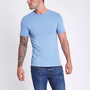 Blauw gemêleerd aansluitend T-shirt met ronde hals