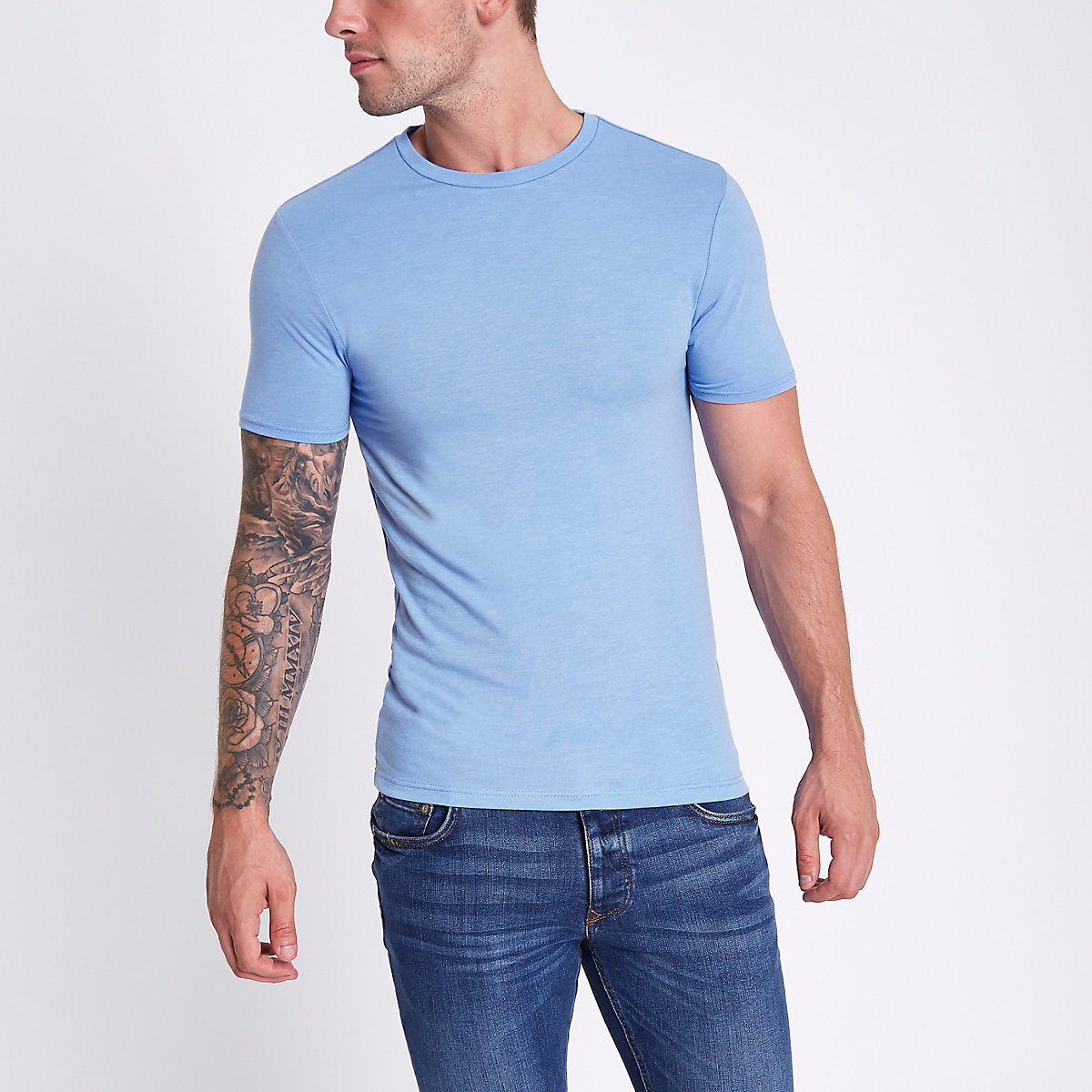 Blue marl muscle fit crew neck T-shirt
