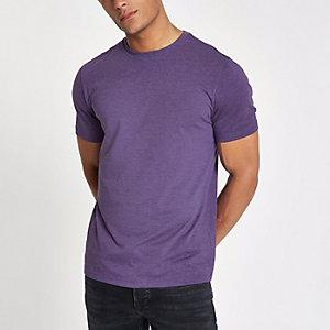 T-shirt slim violet chiné à col ras-du-cou