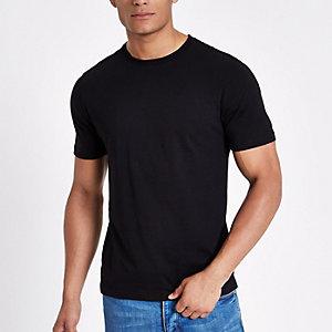 Schwarzes, schmales T-Shirt mit Rundhalsausschnitt