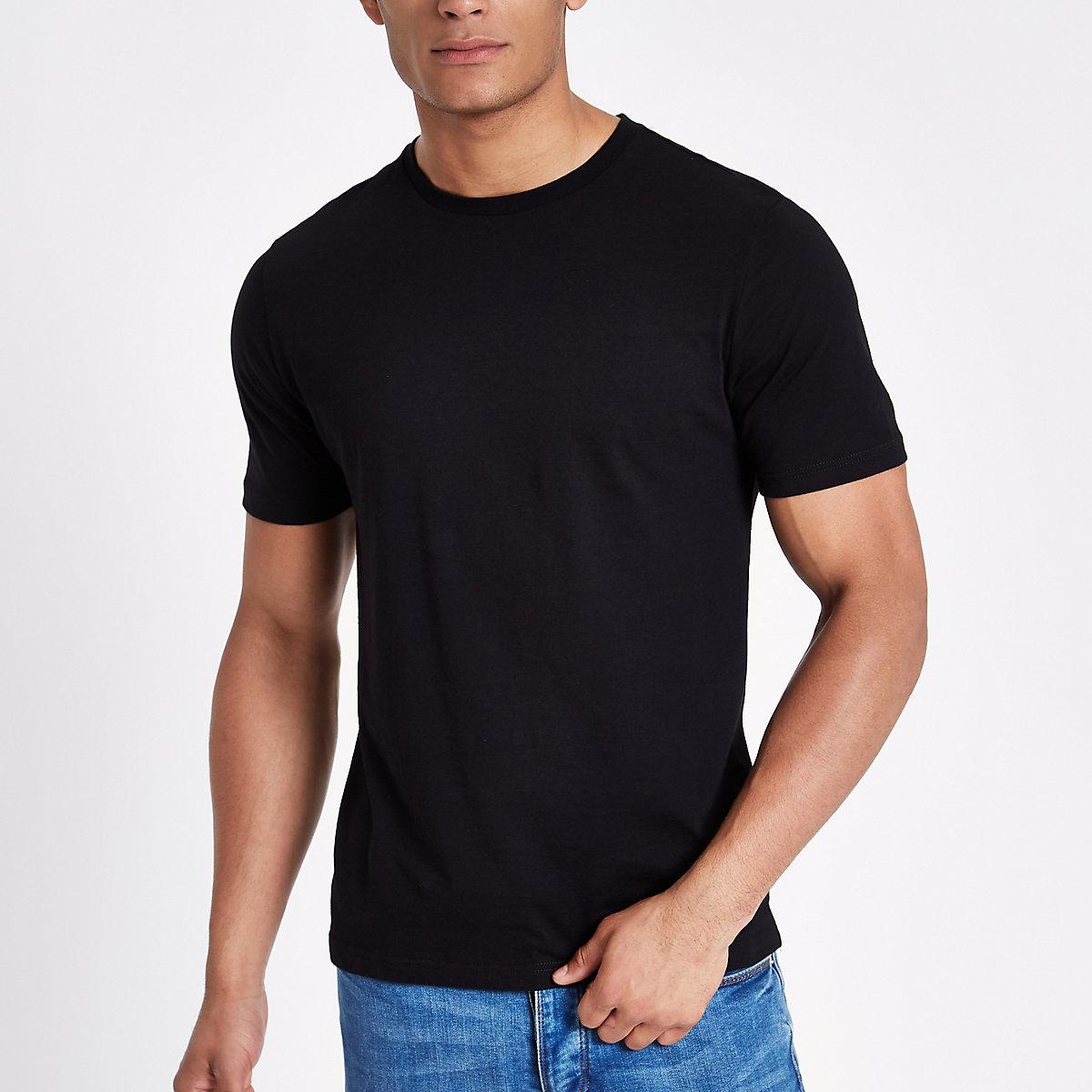Black slim fit crew neck T-shirt