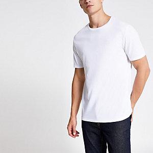 Weißes Slim Fit T-Shirt mit Rundhalsausschnitt