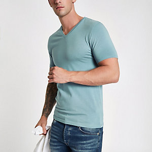 Blaues Muscle Fit T-Shirt mit V-Ausschnitt