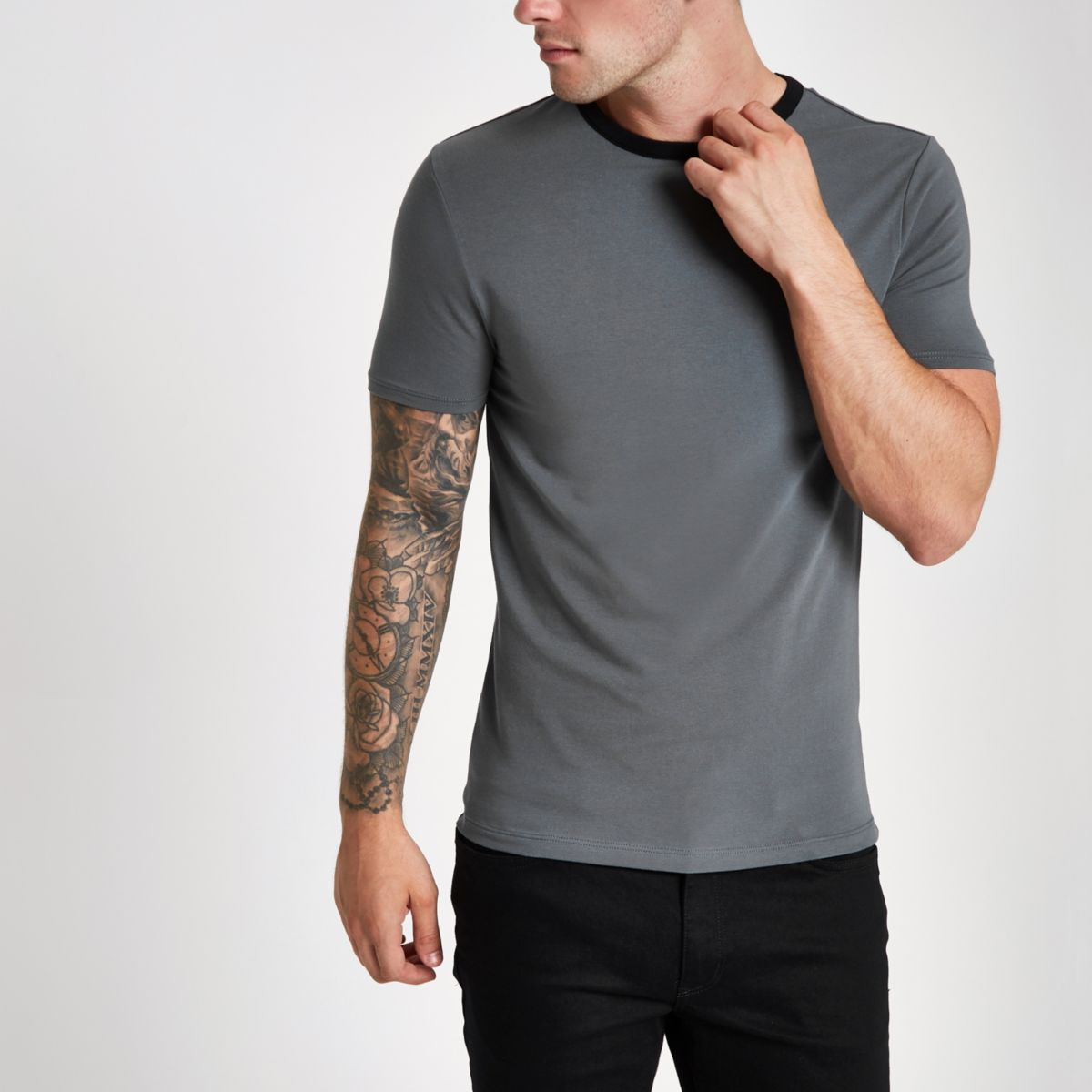 Dark grey ringer muscle fit T-shirt