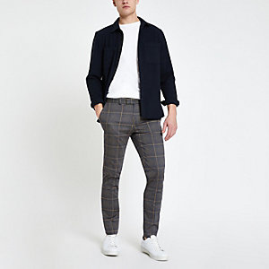 Dark grey check smart skinny pants