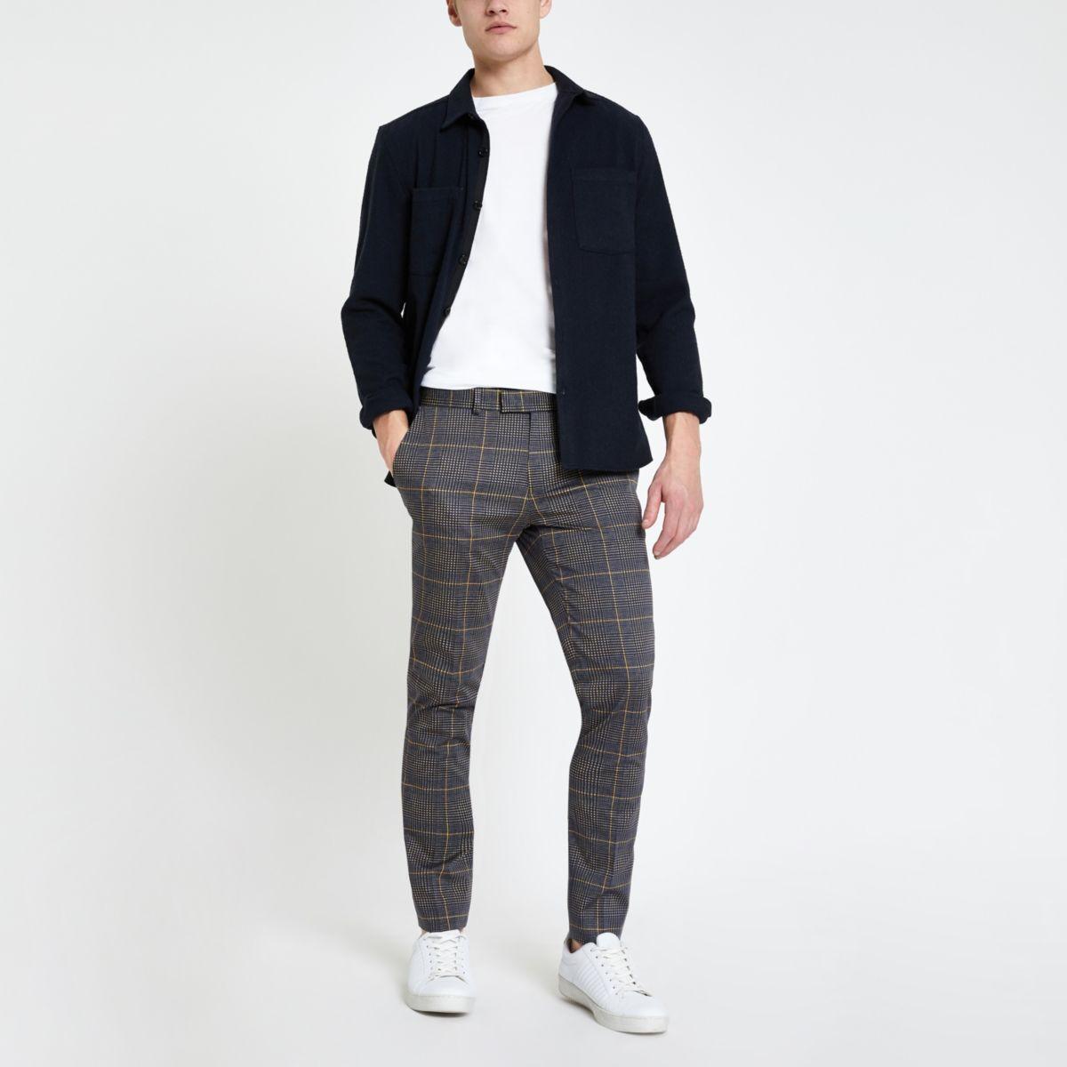 Dark grey check smart ultra skinny pants