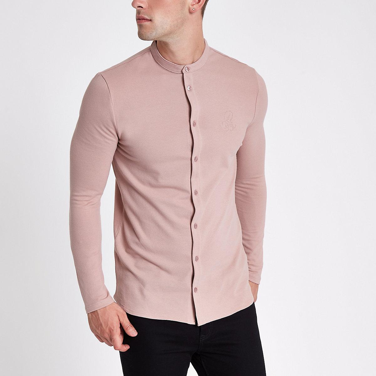 Pink pique muscle fit grandad shirt