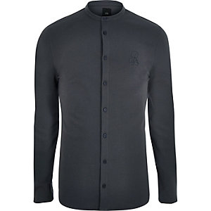Dark grey pique muscle fit grandad shirt