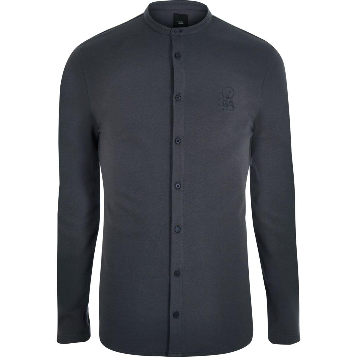 Dark grey pique muscle fit grandad shirt
