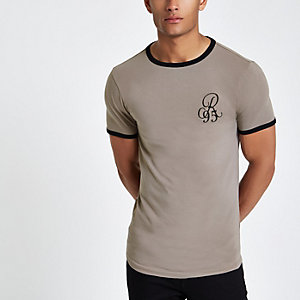 Steingraues, besticktes Muscle Fit T-Shirt