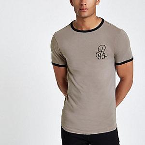 Kiezelkleurig aansluitend T-shirt met borduursel