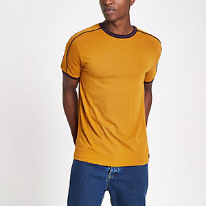 Dark yellow slim fit crew neck piped T-shirt