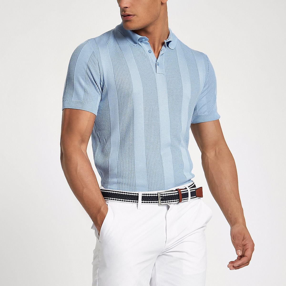 Blue rib knit muscle fit polo shirt